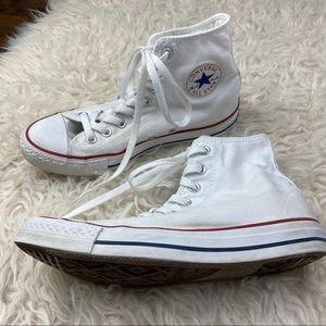 CONVERSE Classic White with Red & Blue High Tops